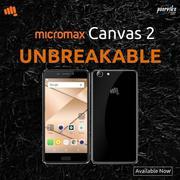 Poorvika presenting Micromax canvas 2 mobile